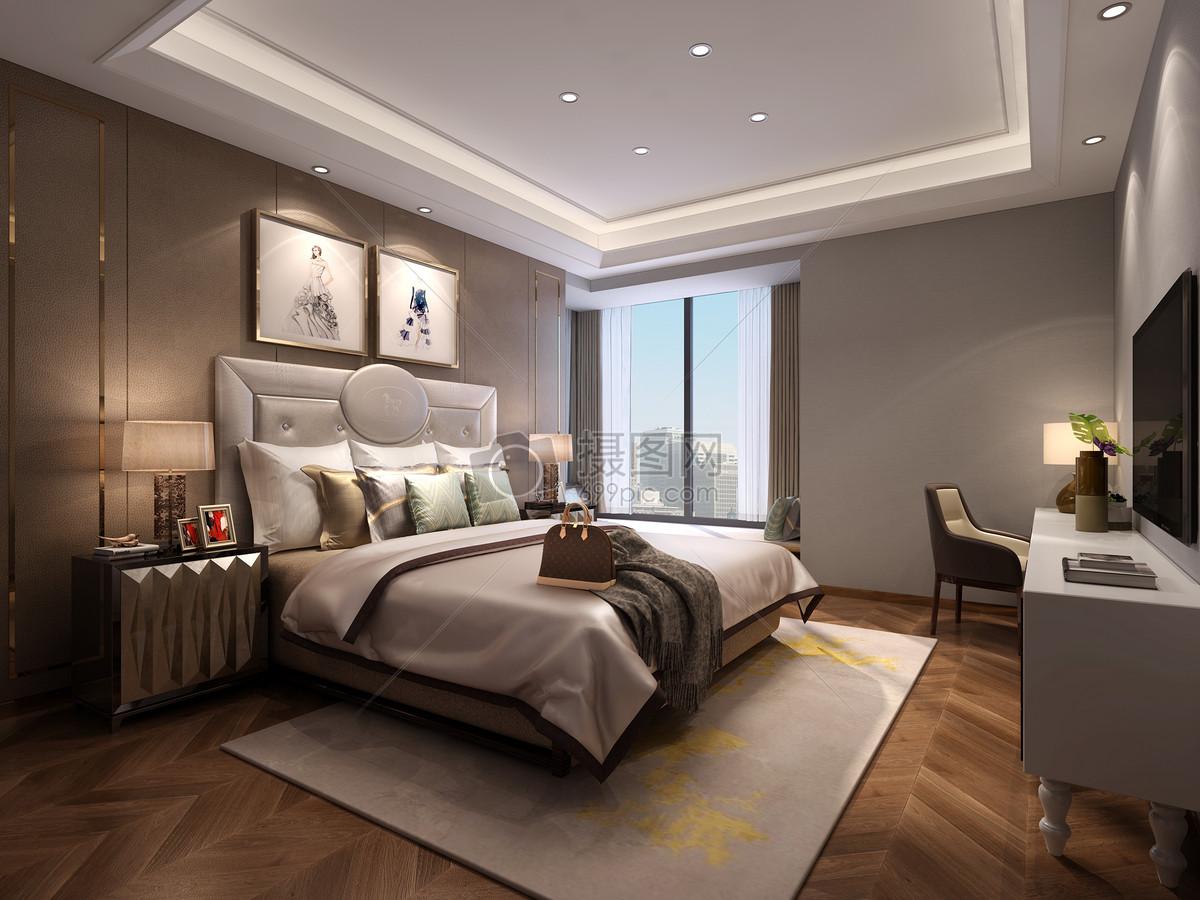 北欧简约风卧室室内设计效果图