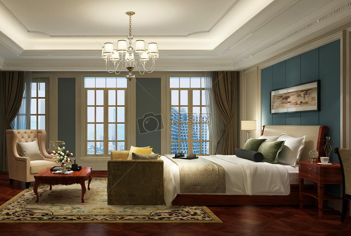 欧式复古风卧室室内设计效果图