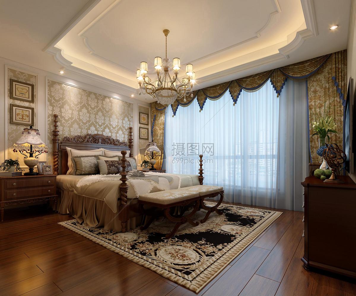 欧式风卧室室内设计效果图