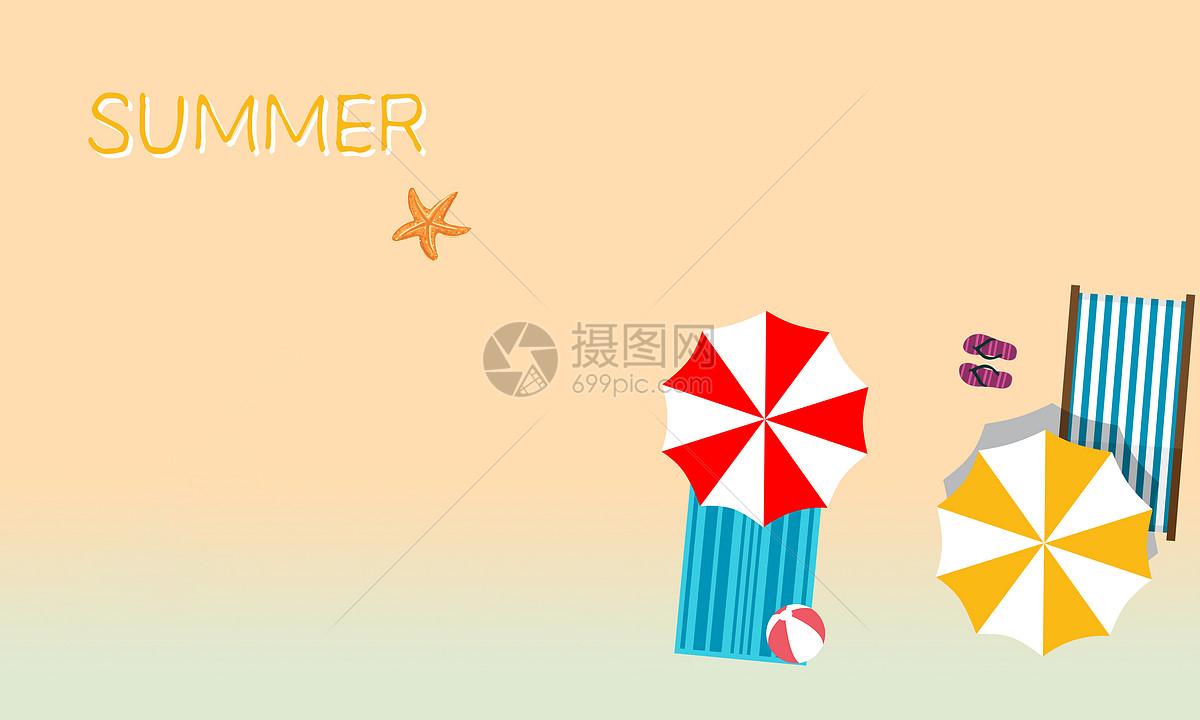 摄图网 创意合成 自然风景 summer炎热夏天凉爽阳光沙滩清爽小清新