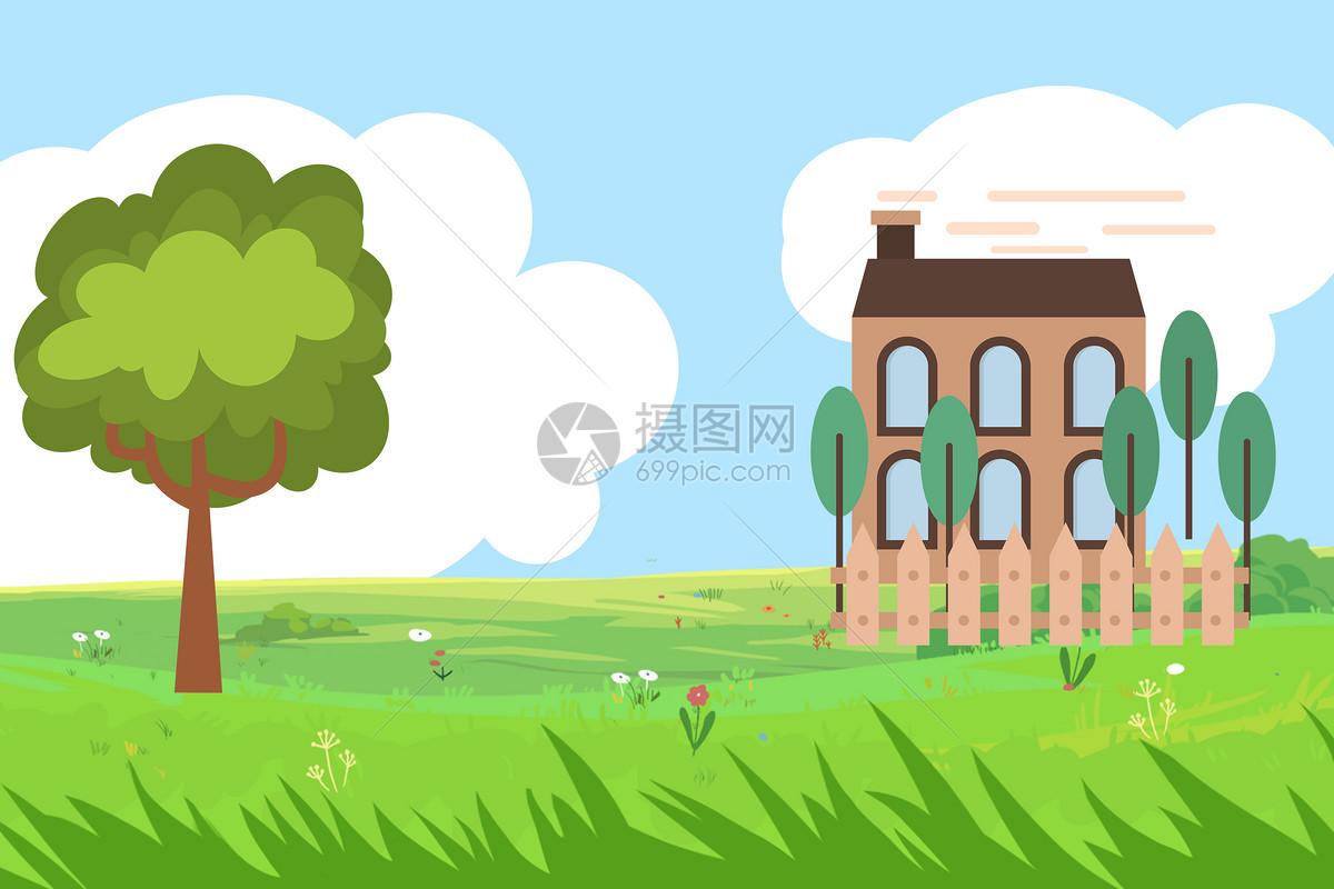 房子樹木青草地藍天白云卡通背景圖片