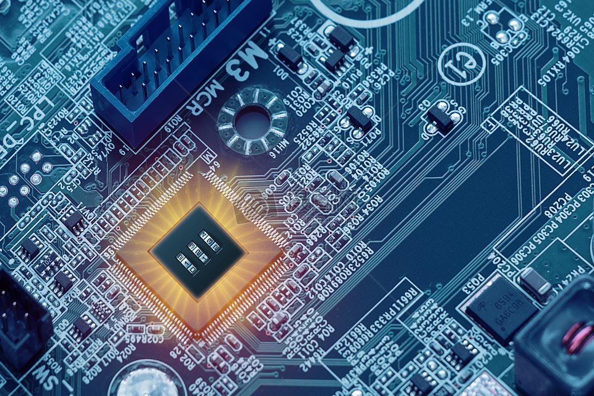 摄图网 创意合成 科学技术 电路板上的密码锁.
