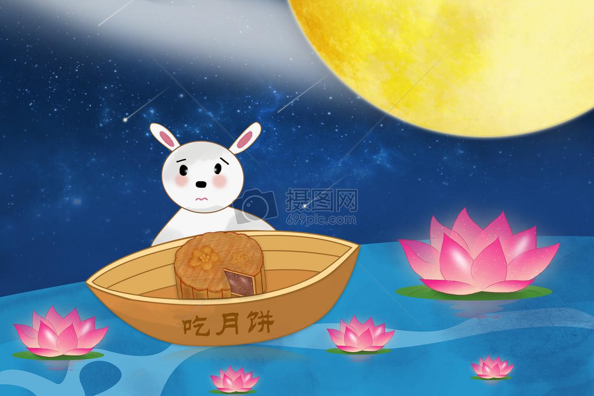 中秋节玉兔吃月饼海报图片素材_免费下载_jpg图片格式