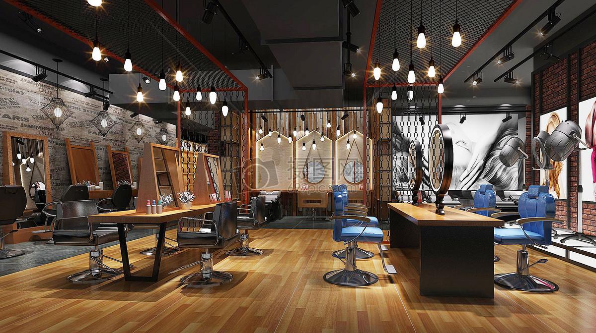 工业复古风美发店室内设计效果图高清图片下载 正版图片500523479 摄图网