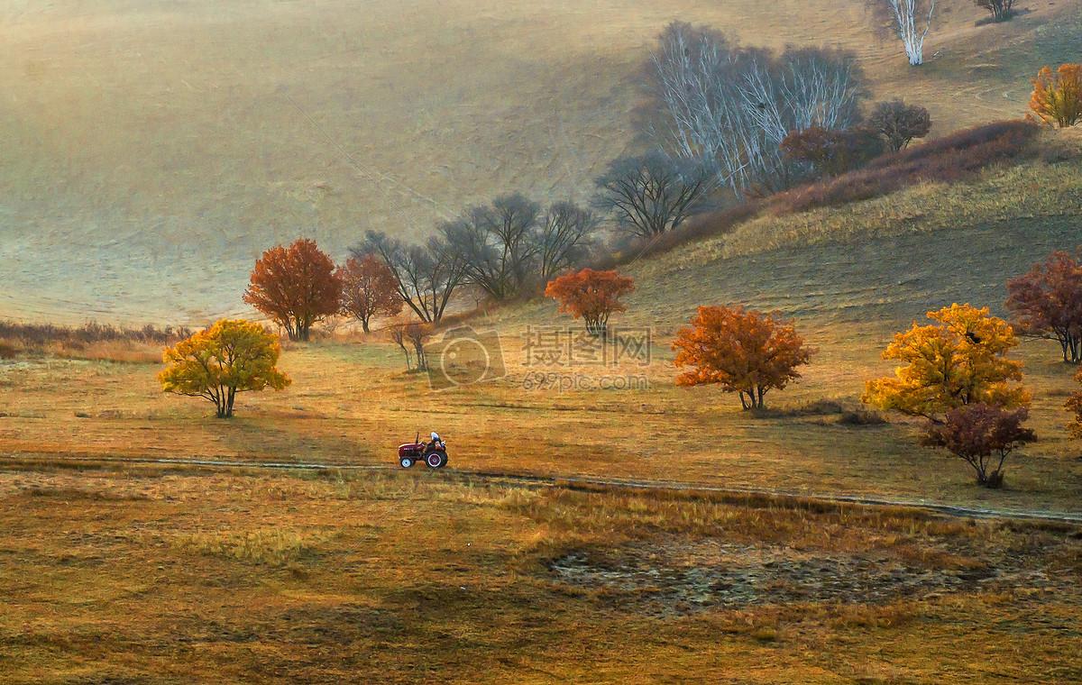 油画般的秋季农场图片
