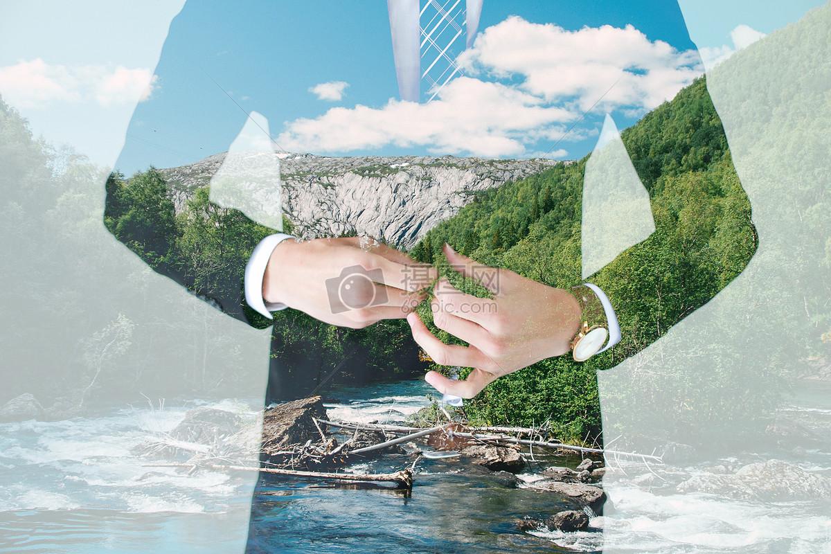 商务人士与自然双重曝光摄影图片免费下载_背景/素材