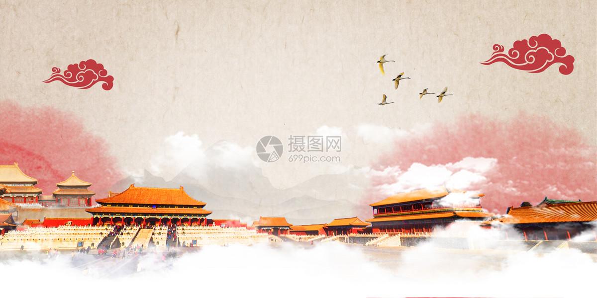 国庆节建军建党天安门手绘水彩背景图片
