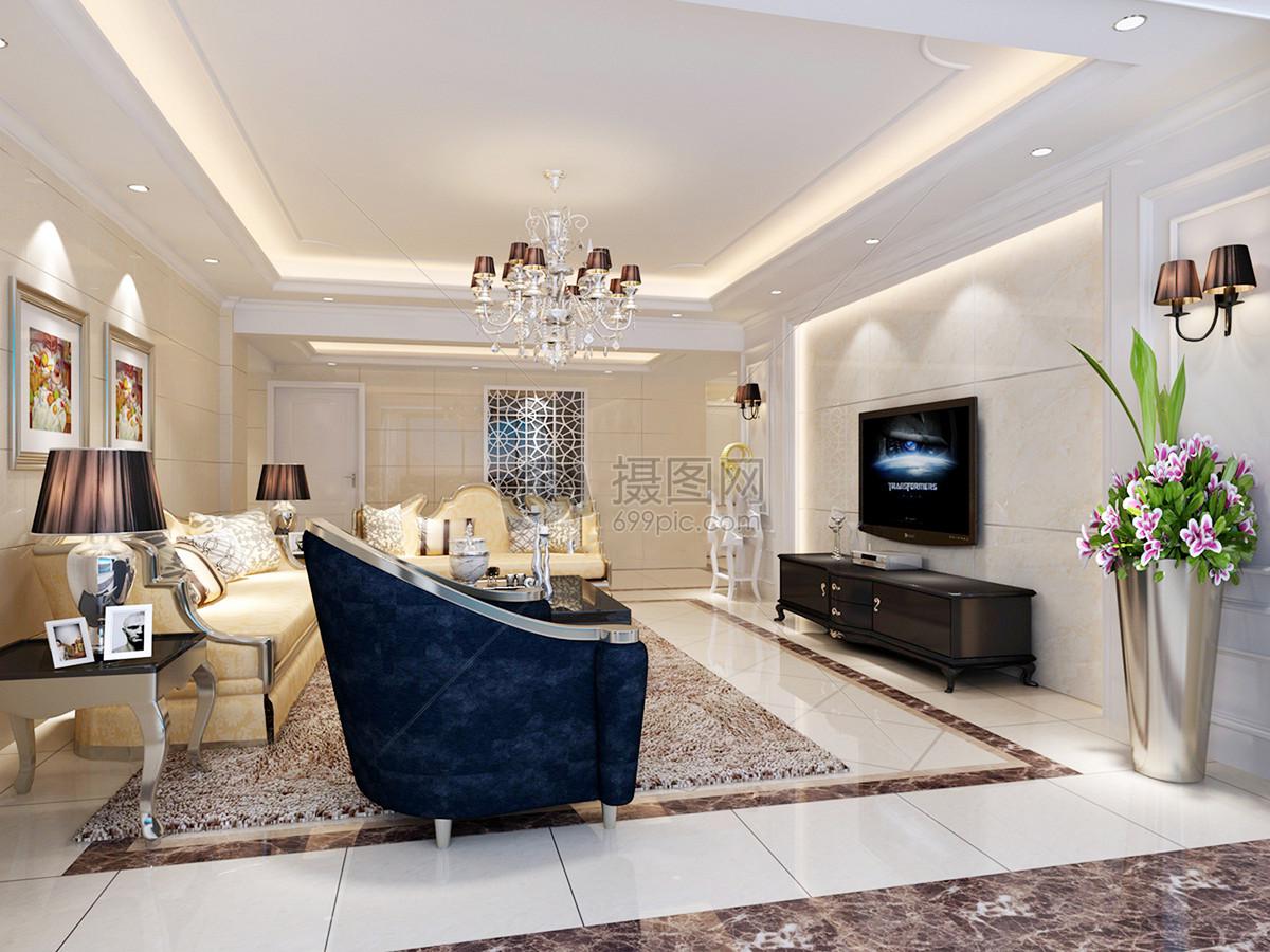 欧式客厅沙发整体效果图
