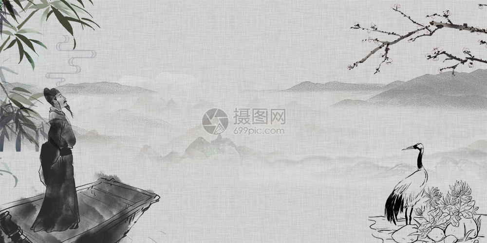 李白水墨画背景图片素材_免费下载_jpg图片格式_vrf
