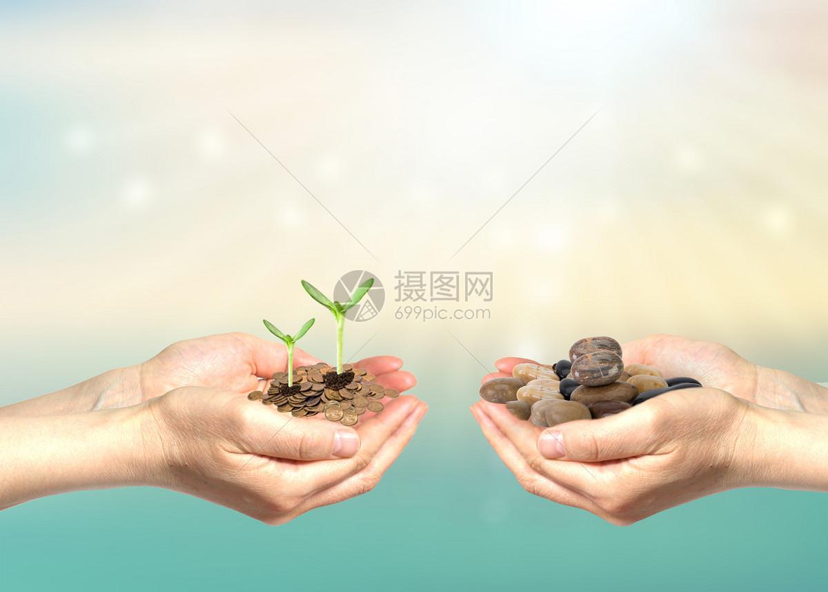 双手捧起硬币和石头图片