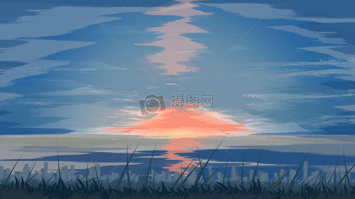 手绘夕阳下的天空