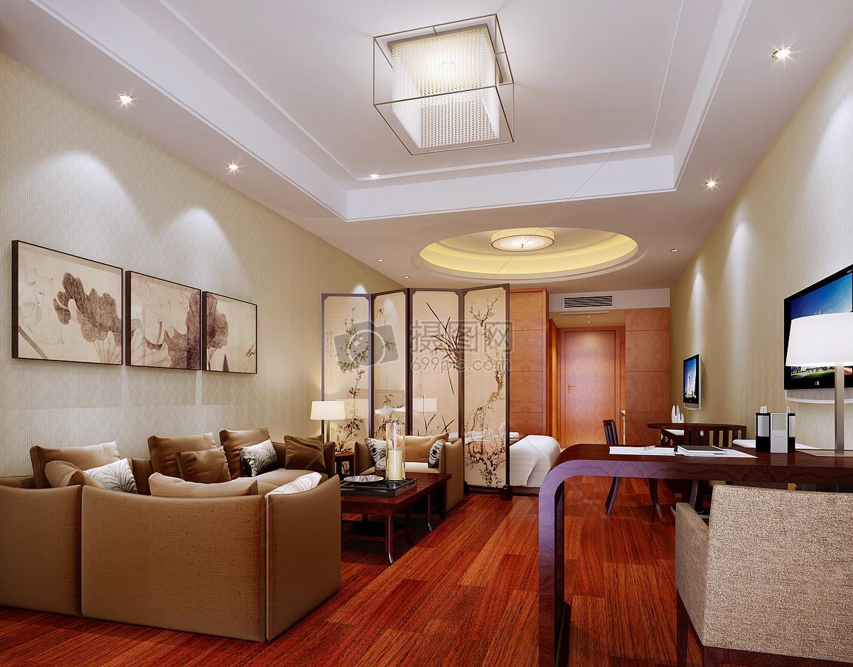 现代装修茶海屏风客厅效果图二级吊地板大厅客厅中式大气的中式客厅