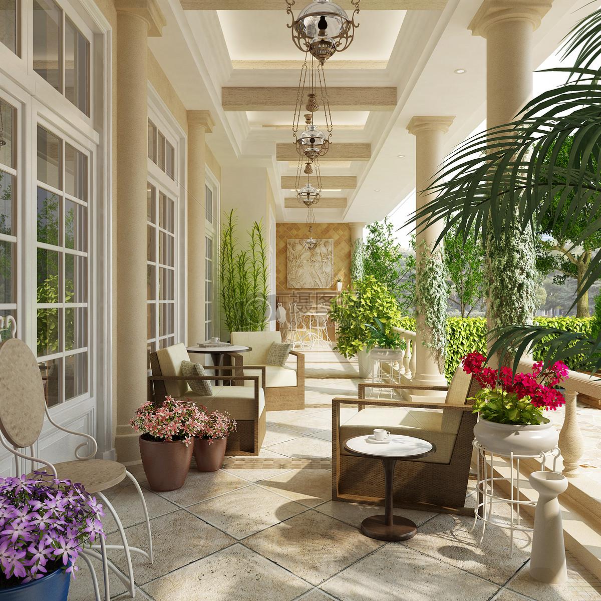 照片 自然风景 别墅阳台家具花卉效果图jpg