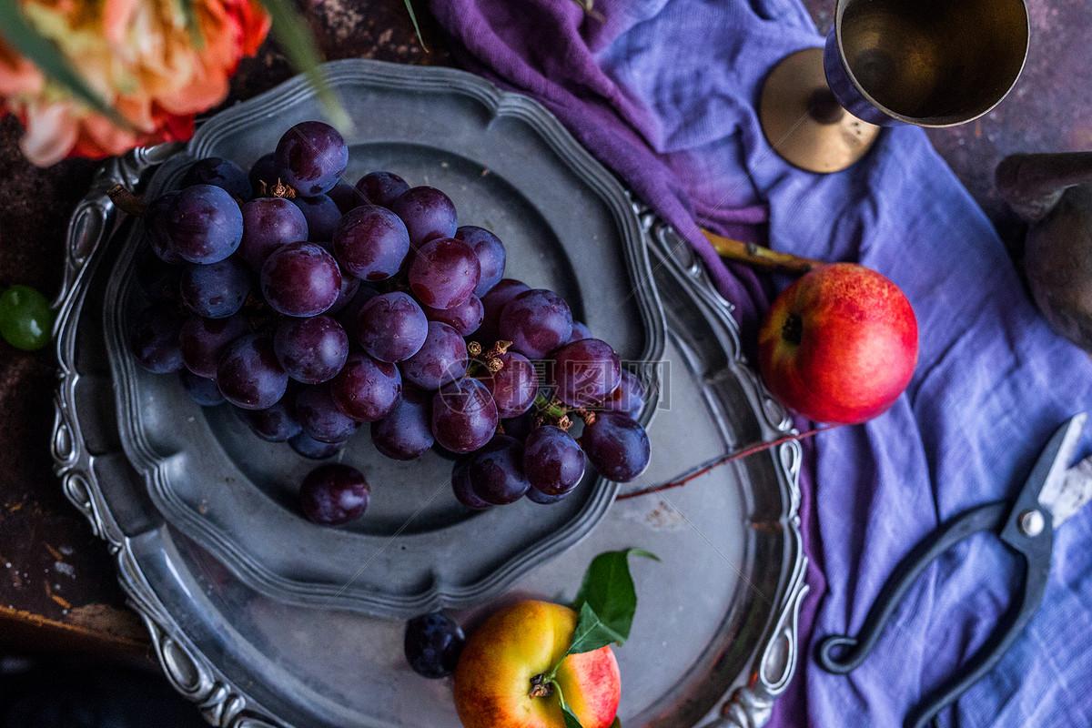 欧式复古葡萄桃子水果盘