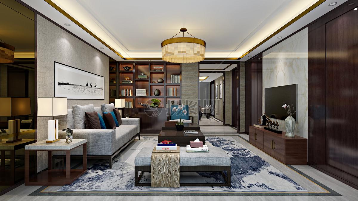 新中式客厅室内设计效果图