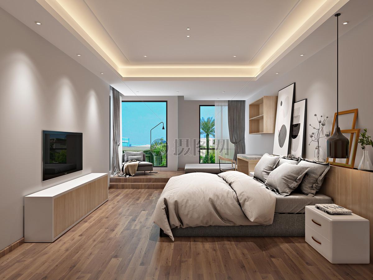 北欧风格简约卧室室内设计效果图图片素材_免费下载_jpg图片格式_VRF高清图片500591915_摄图网