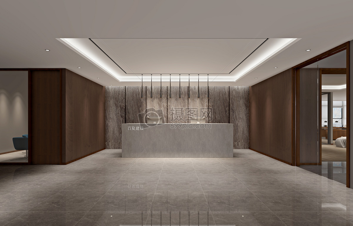 公司前台大厅室内设计效果图
