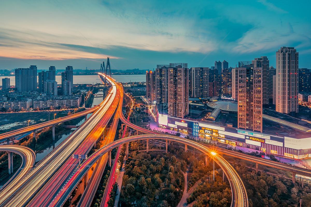 武汉城市夜景二七长江大桥