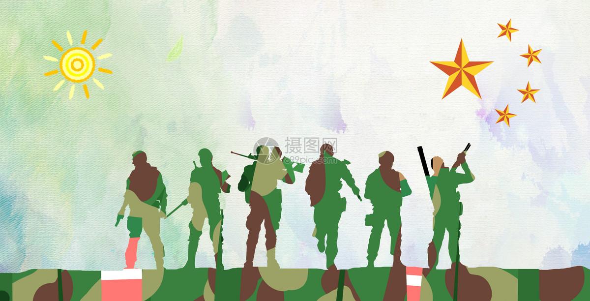 军训和摄影手绘海报