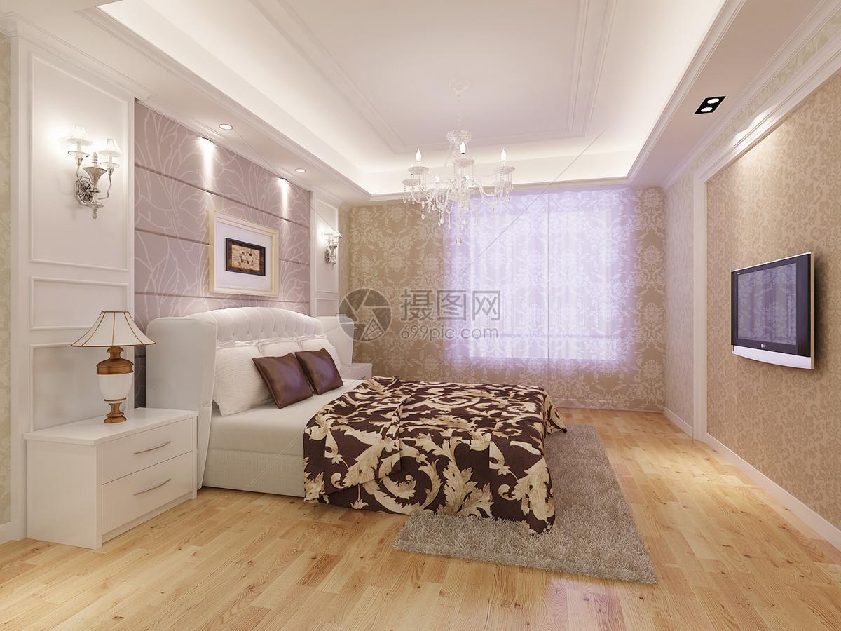 现代风格卧室效果图摄影图片免费下载_室内家居图库