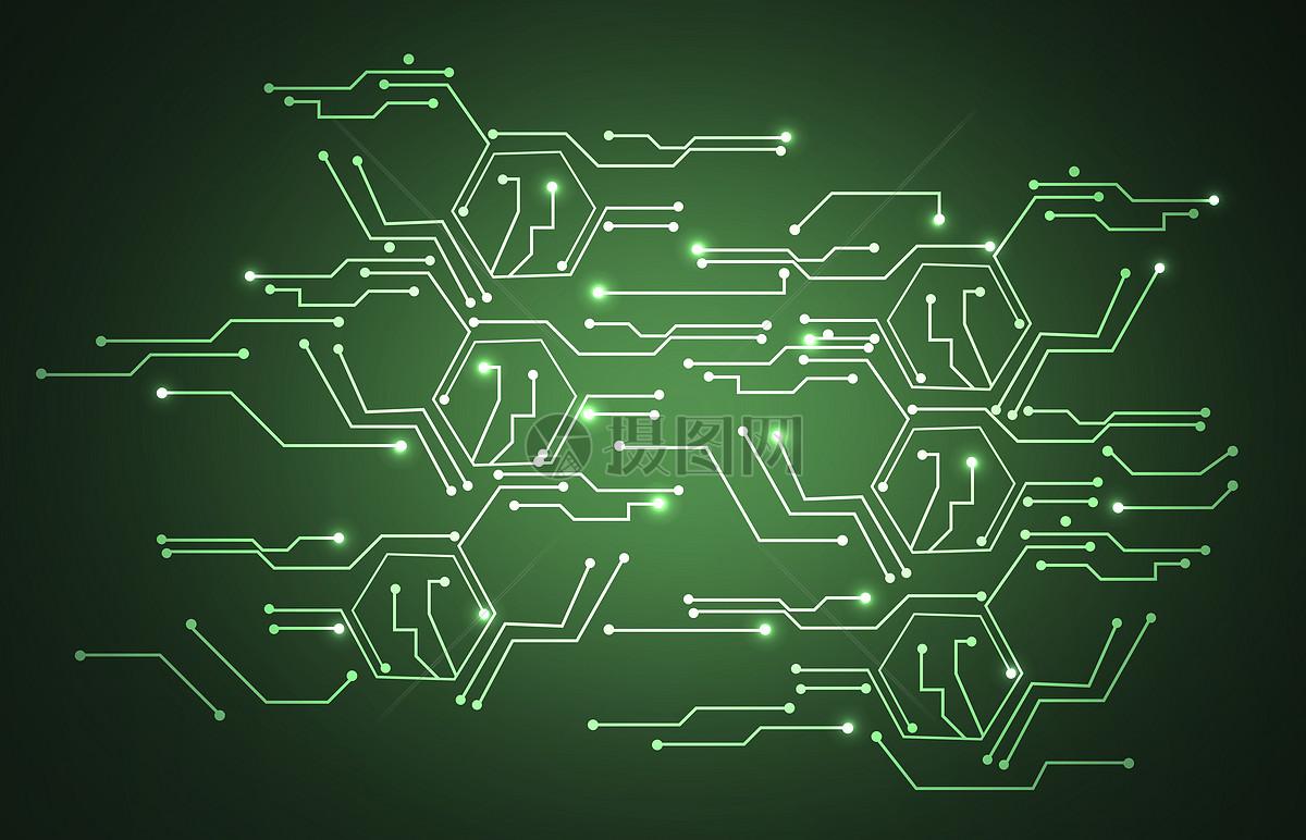 图片 创意合成 科学技术 绿色科技电路背景jpg