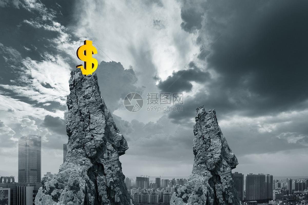 城市山顶上的美元图片
