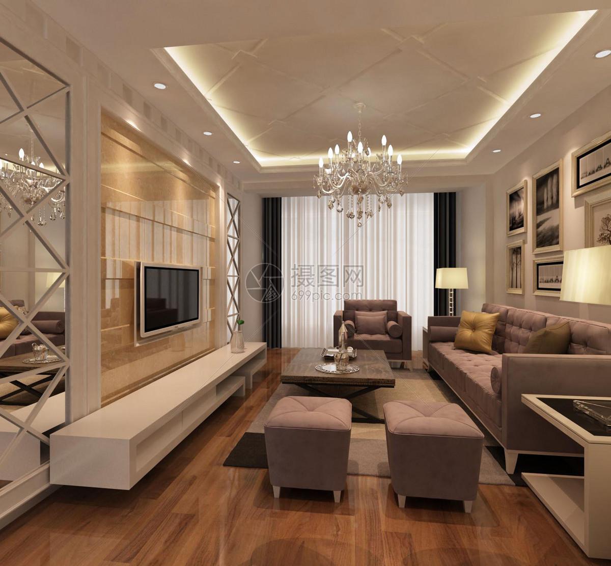 室内效果图沙发组合电视背景墙客厅效果图客厅大厅大厅效果图壁画欧式