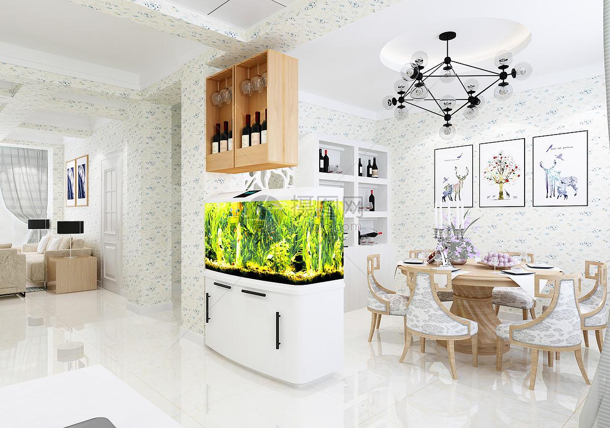 qq空间 新浪微博  花瓣 举报 标签: 餐厅效果图餐桌鱼缸餐厅玄关效果