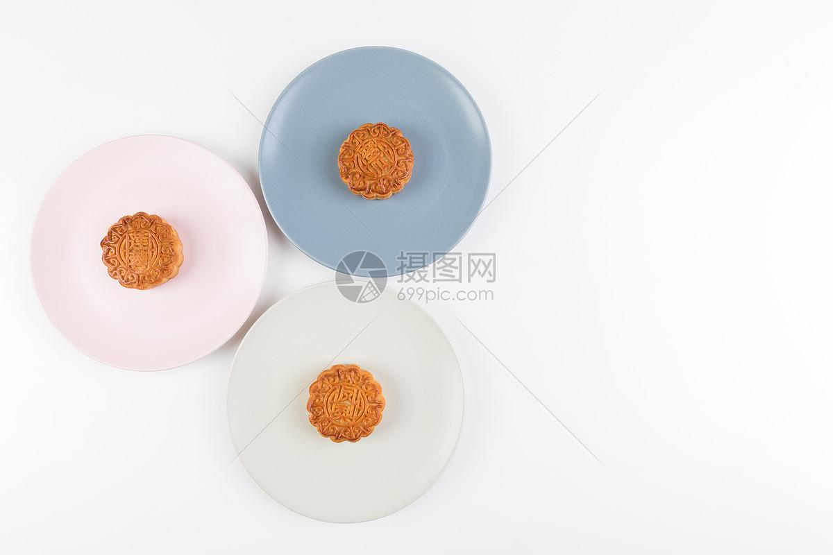 中秋节中秋月饼极简摆拍