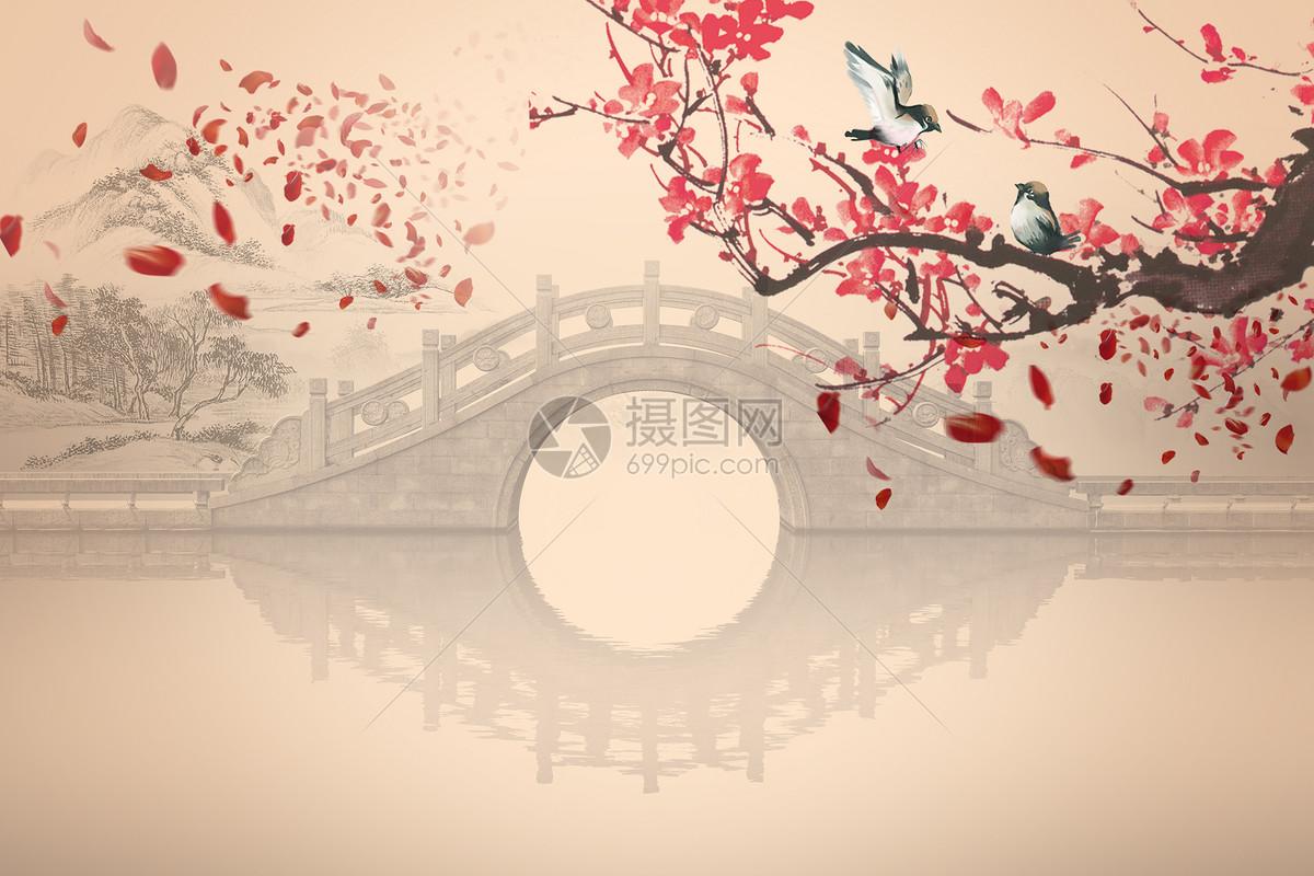 古风花鸟拱桥水墨山林背景图片素材_免费下载_jpg图片格式_vrf高清