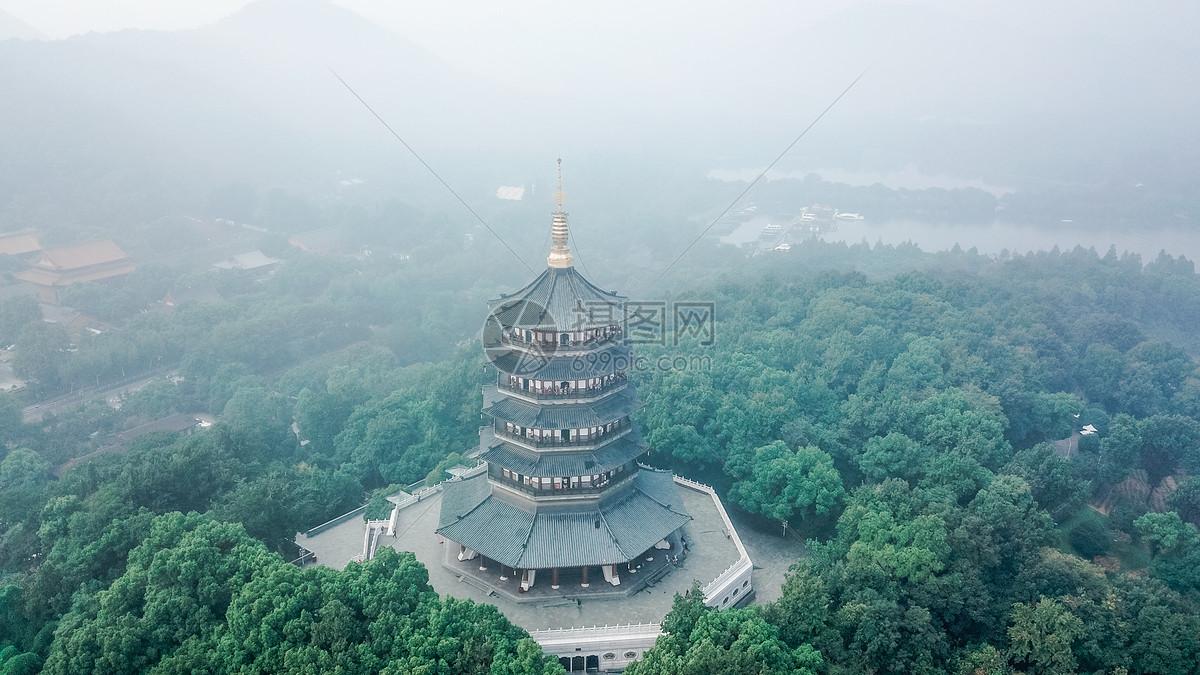 航拍杭州西湖雷峰塔图片素材_免费下载_jpg图片格式