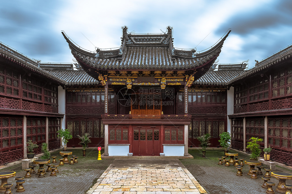 中国古建筑传统庭院背景