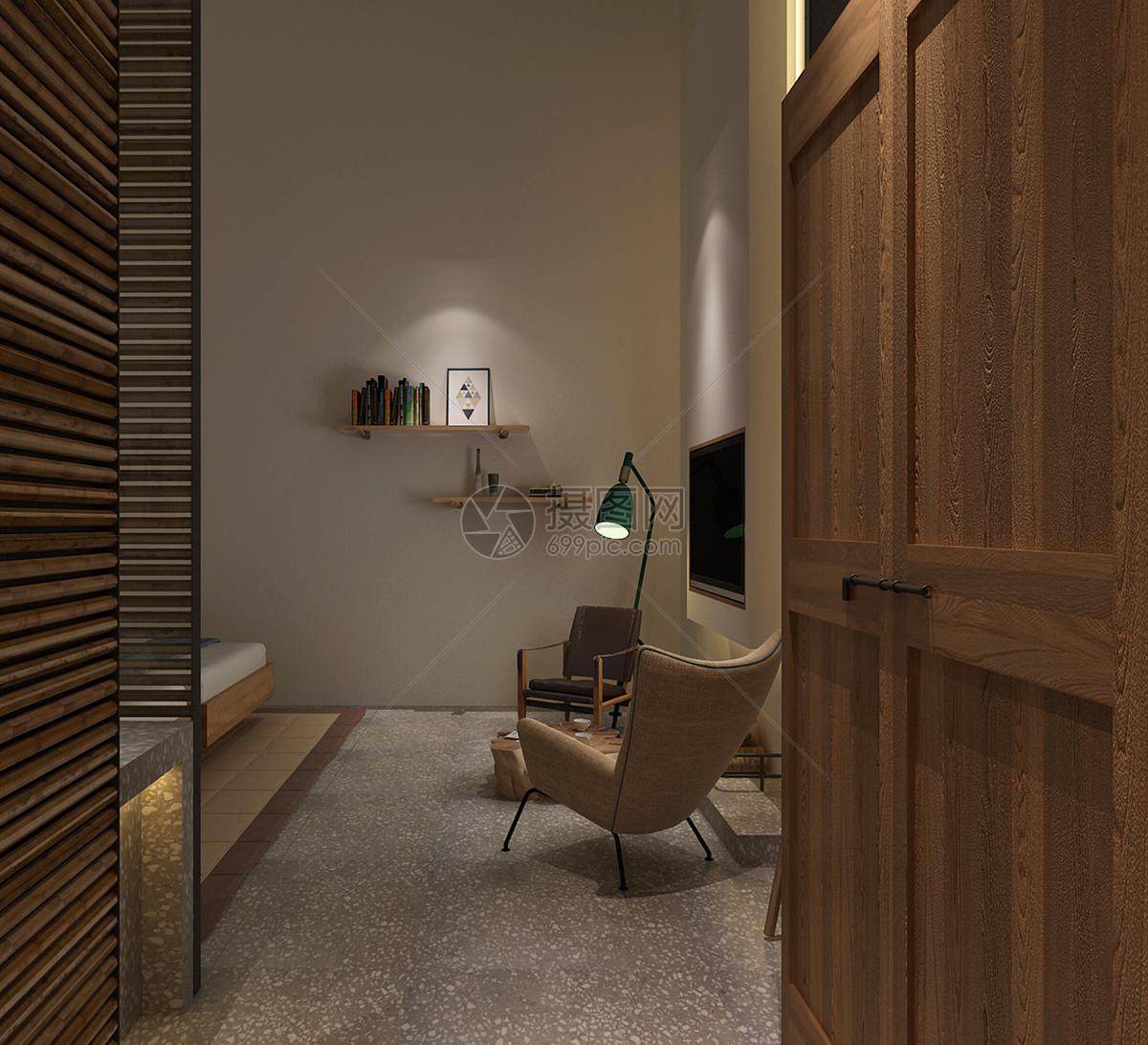 图片 照片 室内家居 民宿风卧室室内设计效果图.jpg