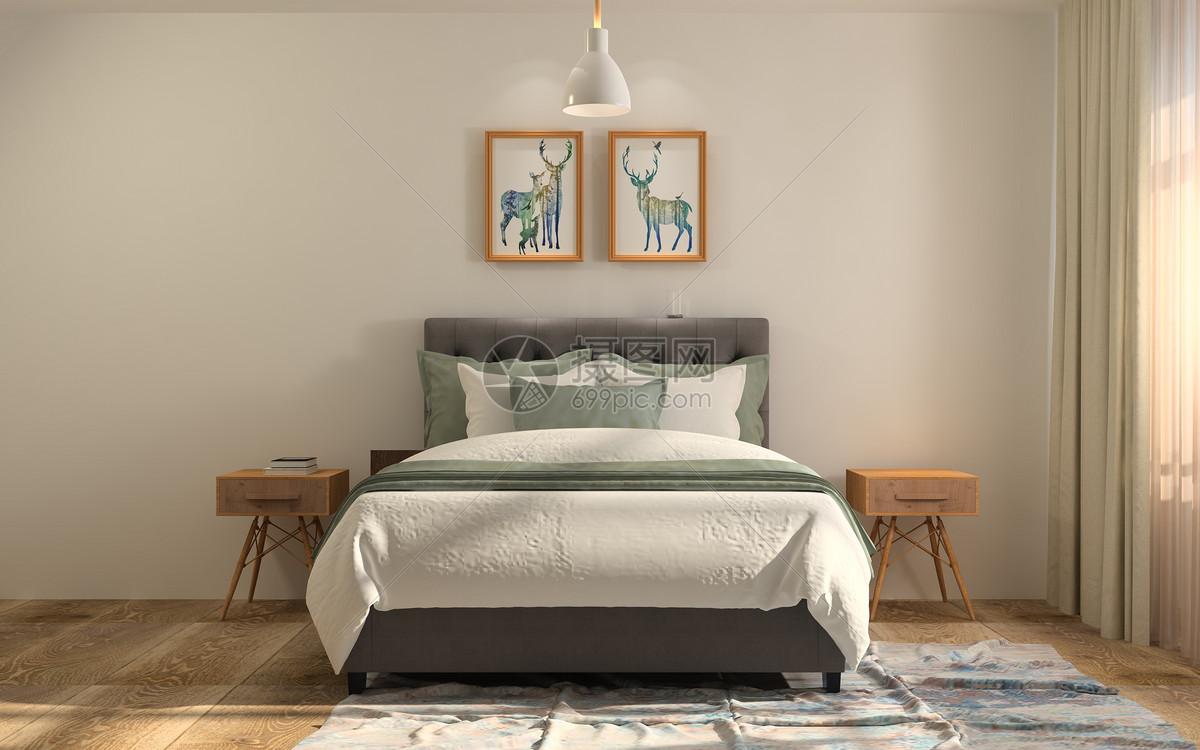 现代极简风卧室室内设计效果图