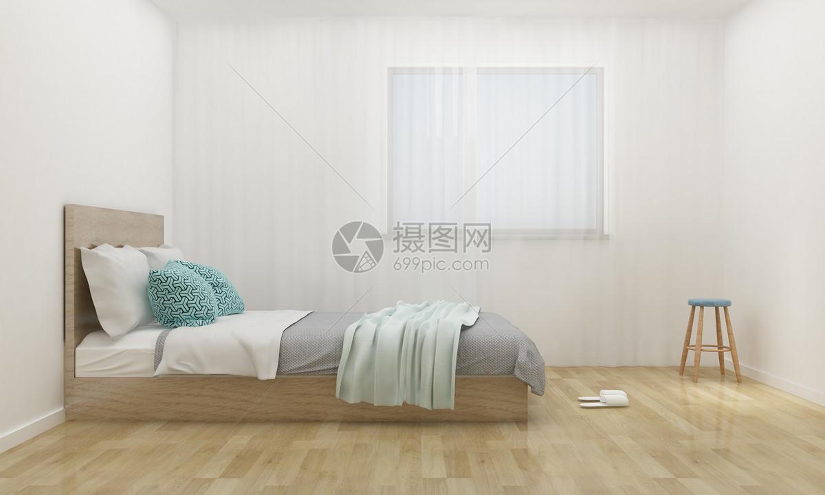 现代极简风卧室陈列室内设计效果图