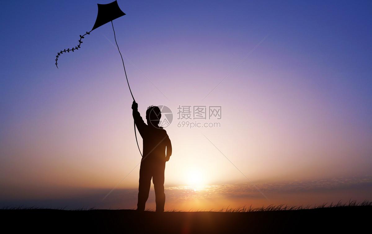 春天放风筝剪影