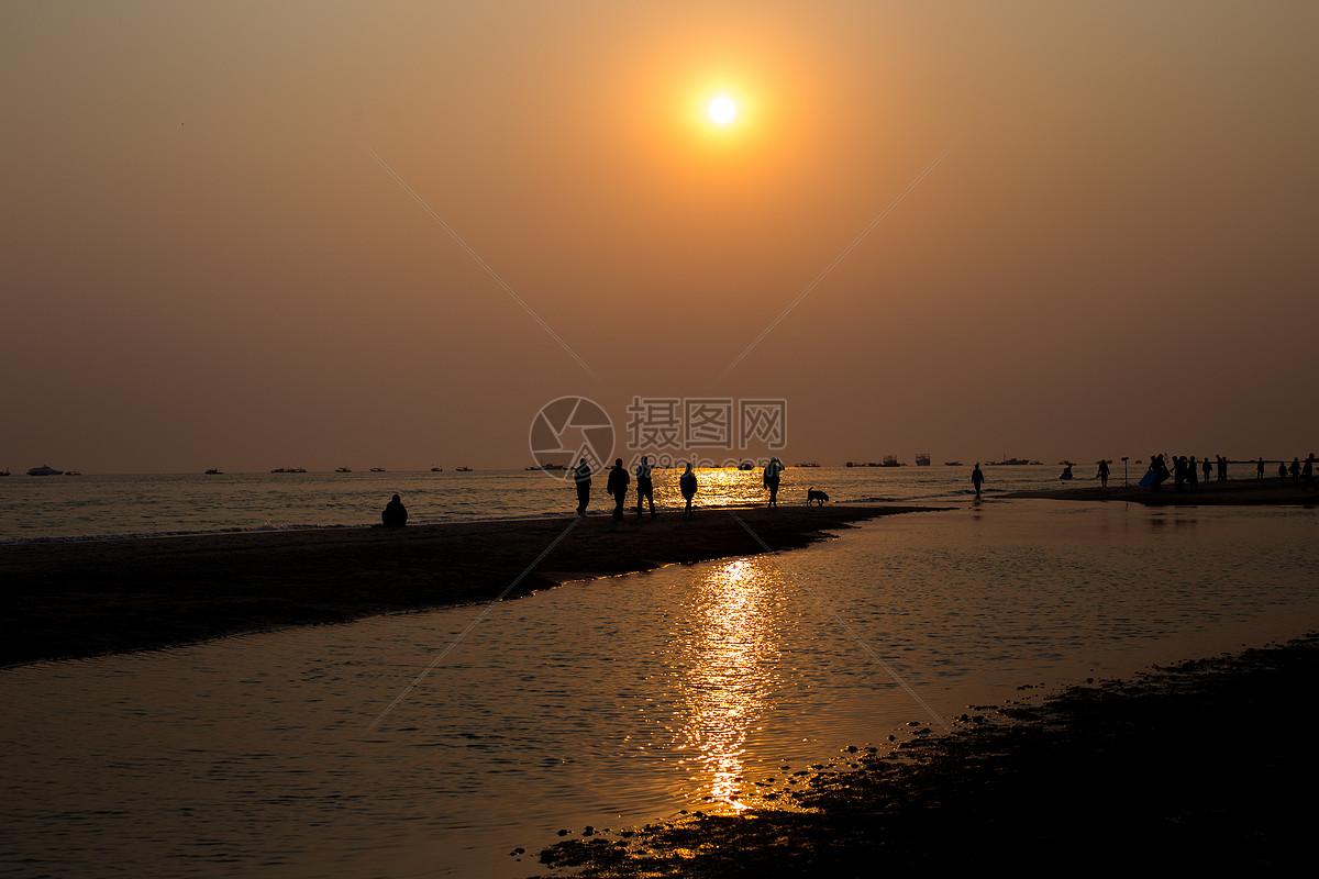 图片 照片 自然风景 中国广西北海银滩日落景色jpg