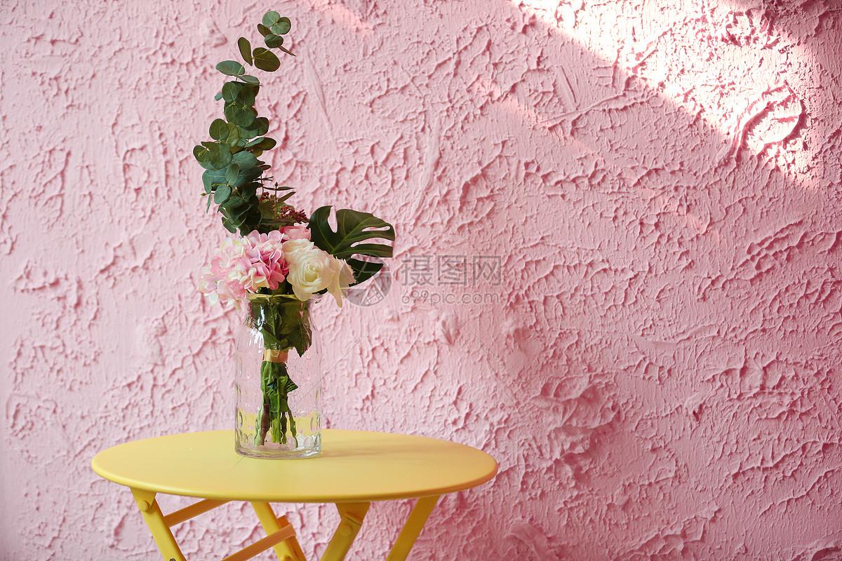 粉色墙壁花瓶图片素材_免费下载_jpg图片格式_vrf高清
