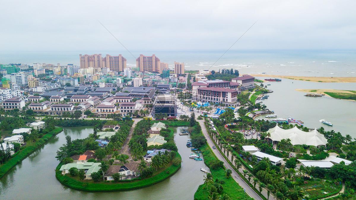 航拍海南博鳌小镇
