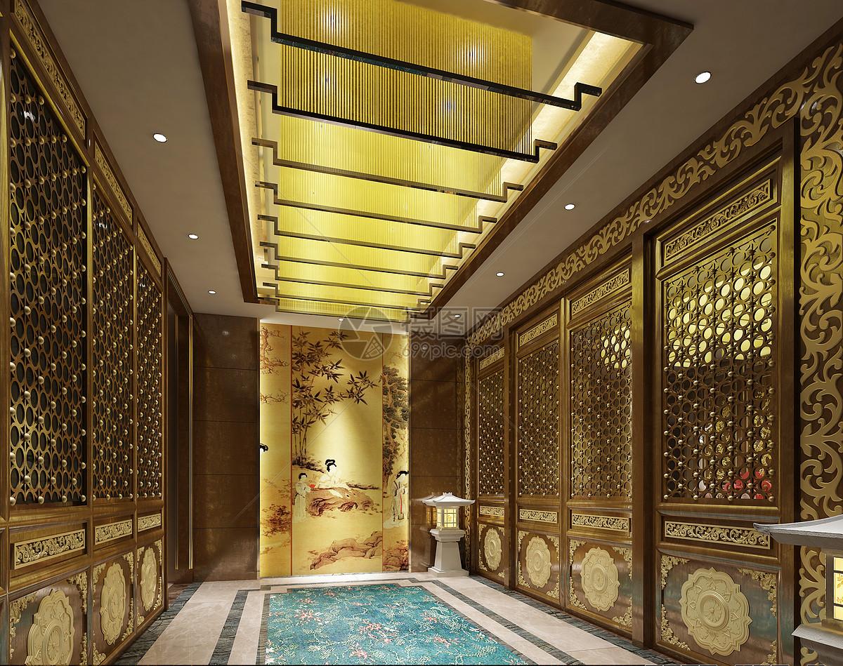 新中式大堂走廊效果图