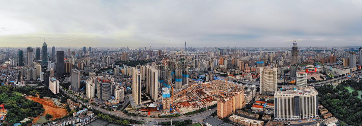 俯瞰武汉汉口城市建筑全景长片图片