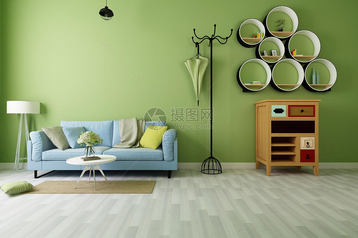 现代绿色背景墙效果图