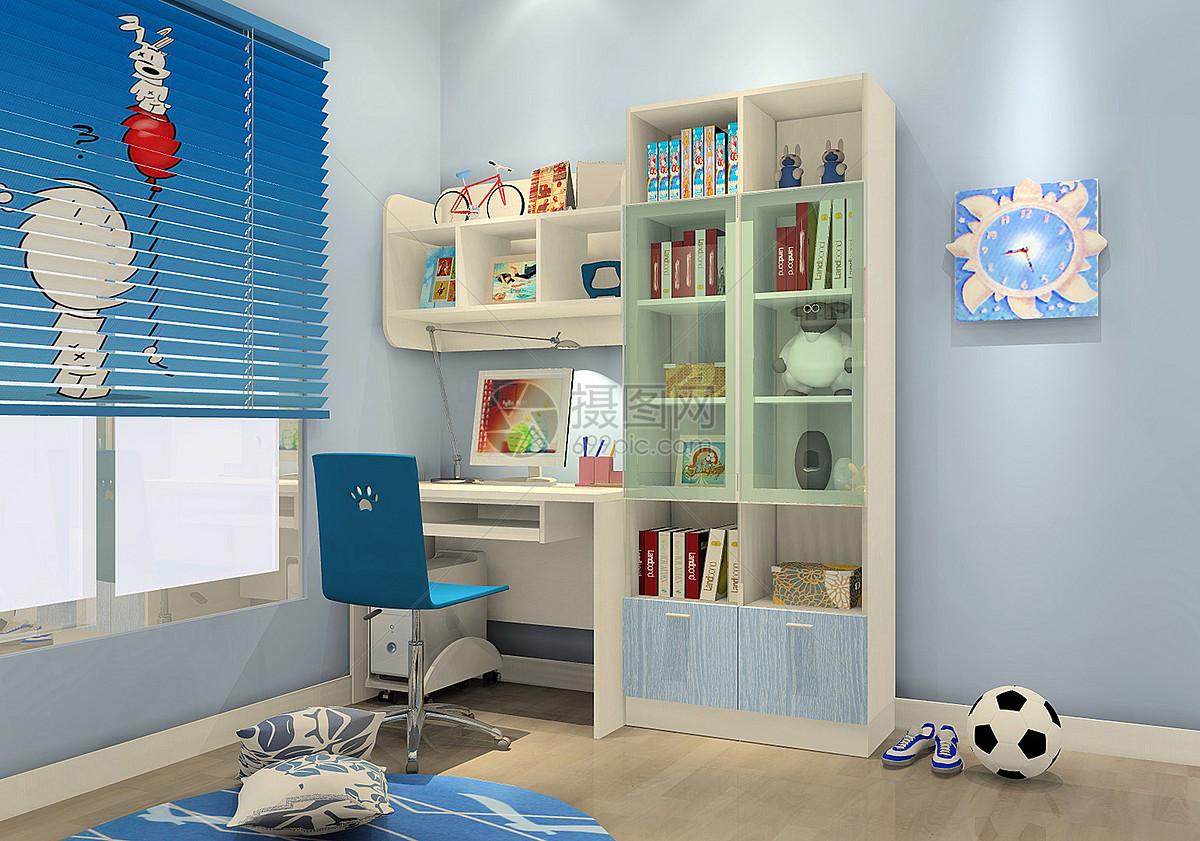 现代儿童房书柜效果图