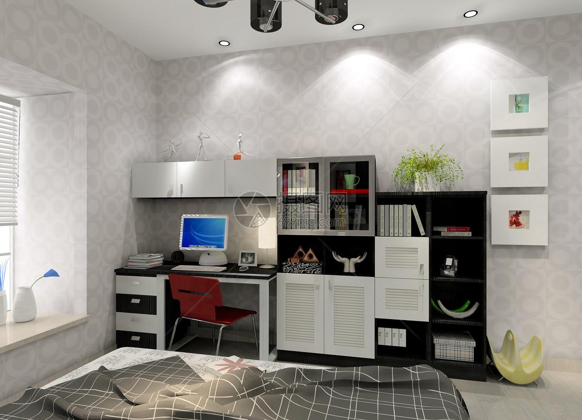 现代卧室书桌效果图