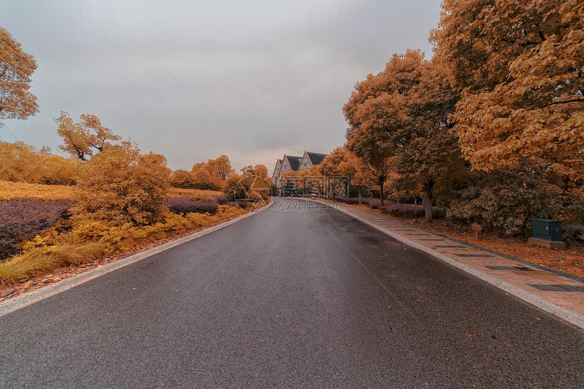 欧式道路两旁休息空间