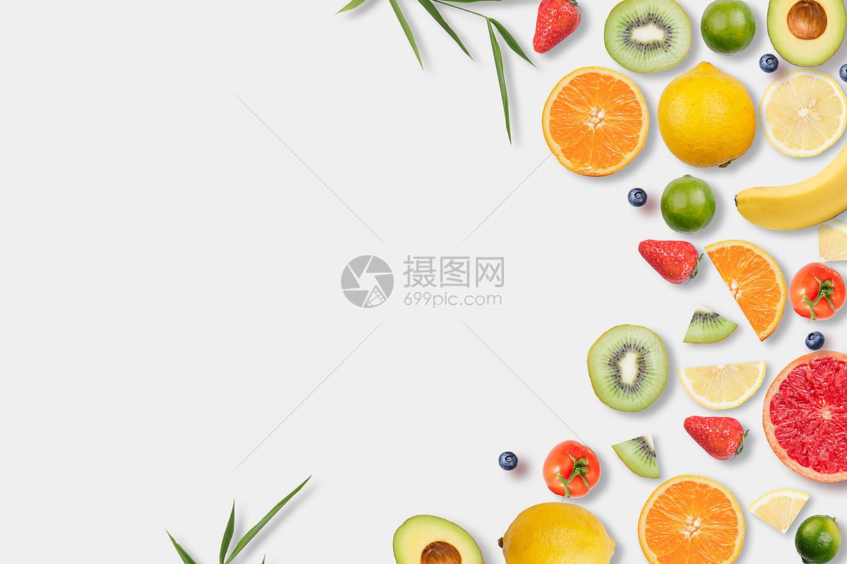水果平铺留白