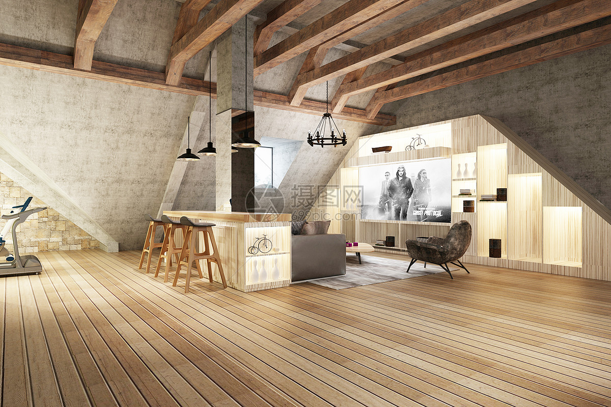 工业风餐厅效果图图片
