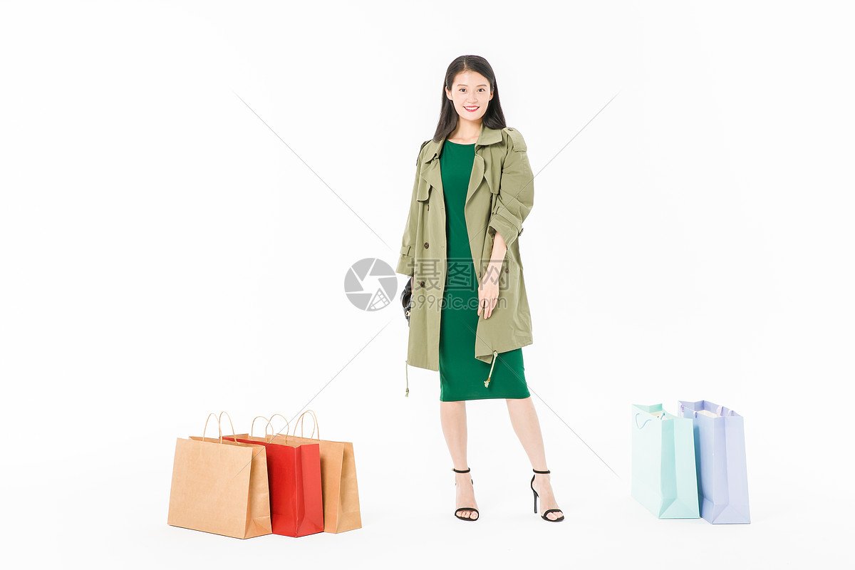 时尚美女购物战利品图片