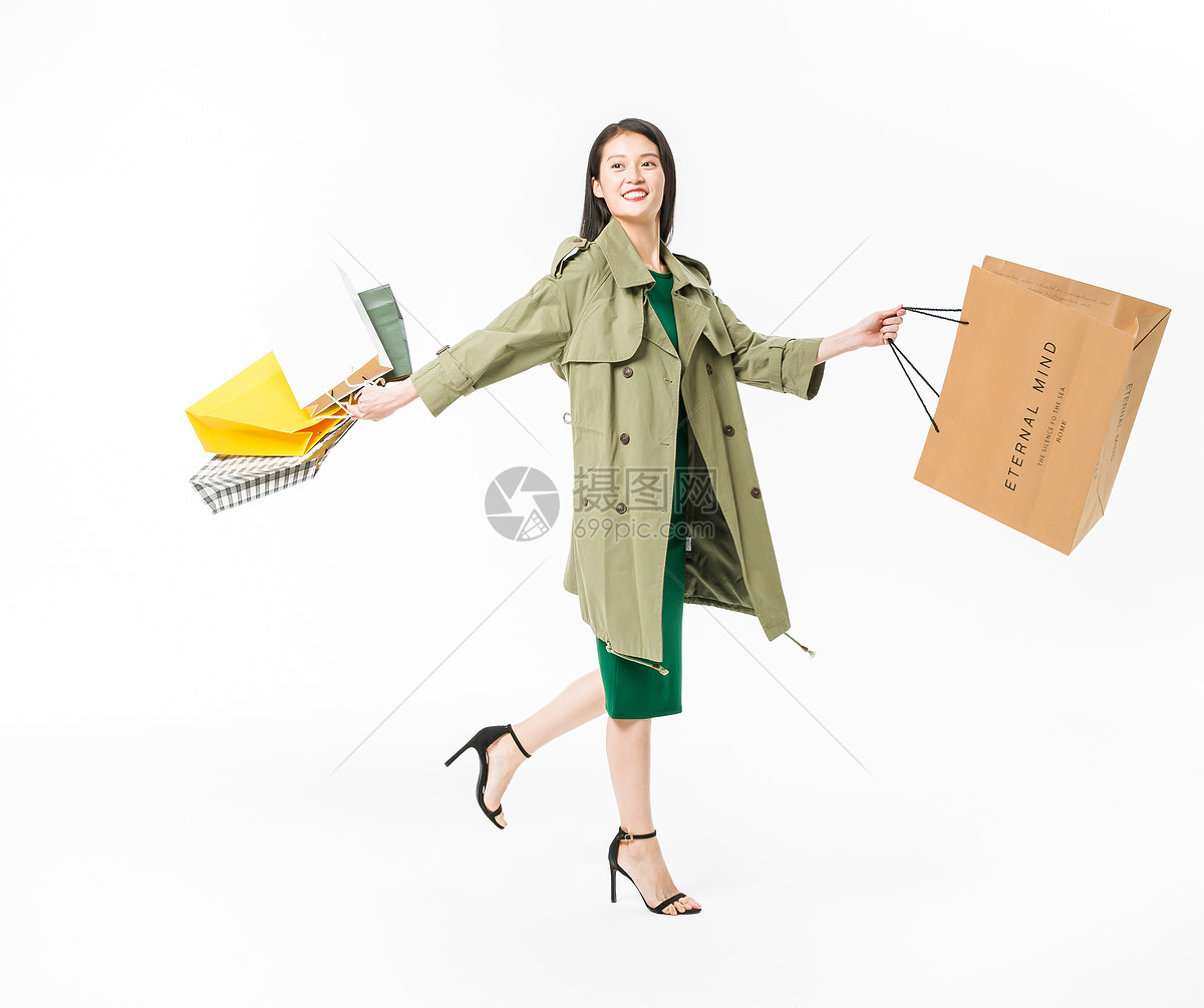 时尚美女购物图片