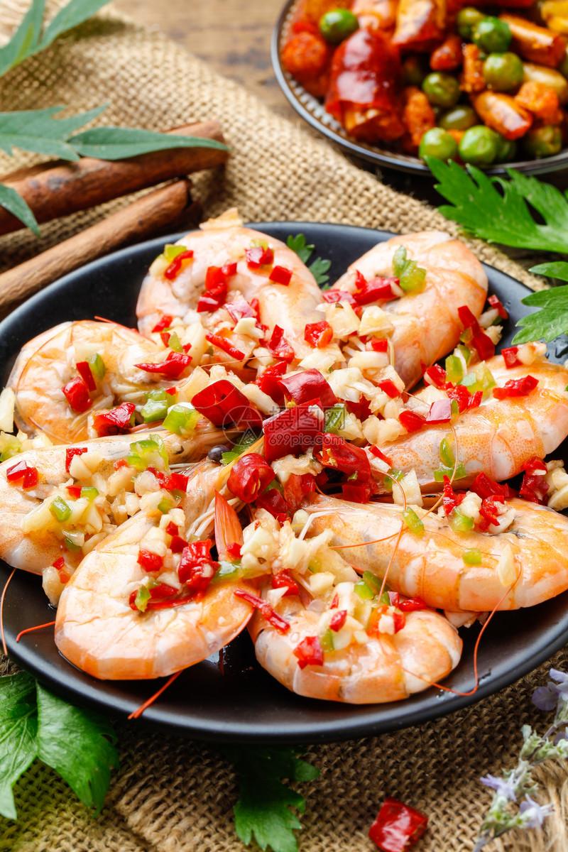 蒜蓉蒸基围虾图片
